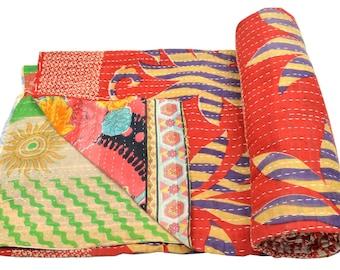 Vintage Kantha Quilt Gudri Reversible Throw Ralli Bedspread Bedding India OG1021