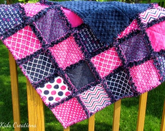Navy and Hot Pink Minky Baby Rag Quilt -Stroller Blanket- Minky Rag Quilt - Minky Baby Blanket