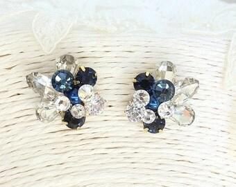 Blue Cluster Earrings- Art deco Bridal Earrings- Navy Earrings- Blue Rhinestone Earrings- Vintage Inspired Earrings- Sapphire Pearl Earrings
