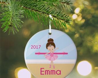 Personalized Kids Ornament - Ballet Class Ballerina Crown Ballet Room, Children Christmas Ceramic Circle Heart Snowflake Star
