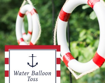Instant Download Nautical Sign - Water Balloon Toss Sign (Red Nautical Party, Welcome Aboard Sign, Boys Preppy Nautical Party)