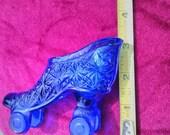 Antique Cobalt Blue Glass Shoe Roller Skate