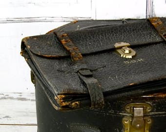 Antique Leather Briefcase Pebble Grain Early Century 1900's Attaché Case