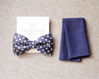 Men's Bow Tie Pre-tied Bow Tie For Men - Navy Blue Bow Tie - Daisy Polka Dot Bowtie Mens Gift Wedding Gift Rustic Bow Tie Boho Wedding Groom