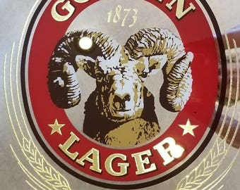 Vintage  ADOLF COORS COMPANY 1873 Golden Lager Golden Colorado Ram mirror in wood Frame limited edition.