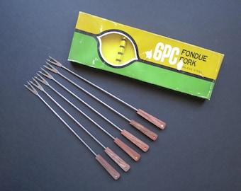 Vintage Fondue Forks Set // Retro Stainless Steel Utensils Wooden Handles in Original Box Made in Japan 1960's Mod Retro Kitschy
