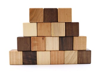 18 Wooden Building Blocks - Organic Bannor Toys Building Blocks - Wood Blocks -Hardwood Blocks