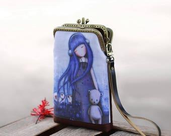Wristlet phone case two compartment, Linen fabric little blue girl.