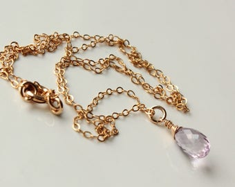 Lavender Amethyst Necklace, 14k Goldfilled wire wrap, light purple gemstone, dainty minimalist simple everyday, holiday gift for her, 4314