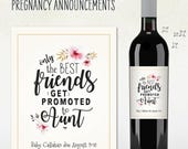 Pregnancy Announcement - AUNT - only the best friends get promoted to aunt - Custom Wine Label - Personalized
