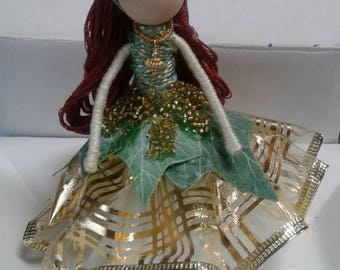 Fairy Doll-Green & Gold Top
