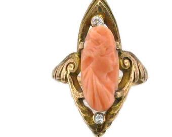 Yellow Gold Coral Cameo Ring; Coral Ring; Art Nouveau Ring; Cameo Ring; Coral Cameo Ring; Art Nouveau Cameos, Vintage Cameo Ring