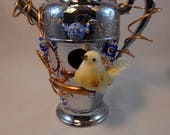 Re-Purposed, Chrome Plated Cocktail Shaker Birdhouse-083