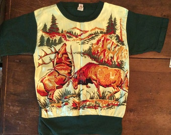 Fabulous Rare 1950s Day Glo knit Shirt T Shirt Boys 12-14 Ladies S- Xs