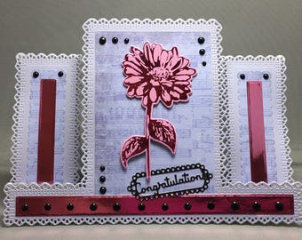 A Pink Hot-Foiled Daisy, Decorative Centre Stepper Congratulations Card