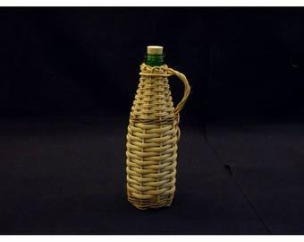 Greek Demijohn, wicker bottle, small demijohn, olive oil bottle, decanter, rustic, damijana, carboy, wine server, tableware, Crete, Greece