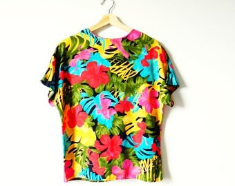 Jungle Floral Vintage Blouse / Rad Island Resort Boxy Blouse / Colorful Tropical Shirt / Monstera Banana Leaf Floral Print