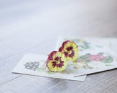 Yellow-red pansy earrings - pansy jewelry - flower earrings - flower jewelry - botanical jewelry - blossom earrings - violet earrings