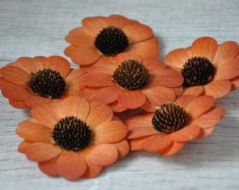 12 Pcs Burnt Orange Zinnia Wooden Flowers for Weddings and Other Floral Decorations