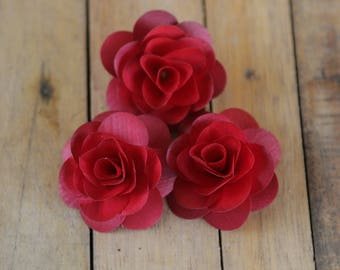 Wooden Roses 12 Pcs Cranberry Red Birch for Weddings, Home Decorations, Scrapbooking and Floral Arrangements