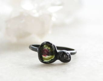 20% OFF SALE  tourmaline ring, diamond ring, sterling silver, recycled silver, organic jewelry, raw gemstone jewelry