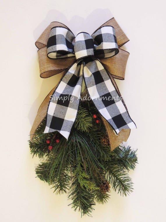 Black White Buffalo Plaid Burlap Bow Black White Buffalo Check Christmas Wreath Bow Black White Check Flannel Christmas Bow Cabin Check Bow