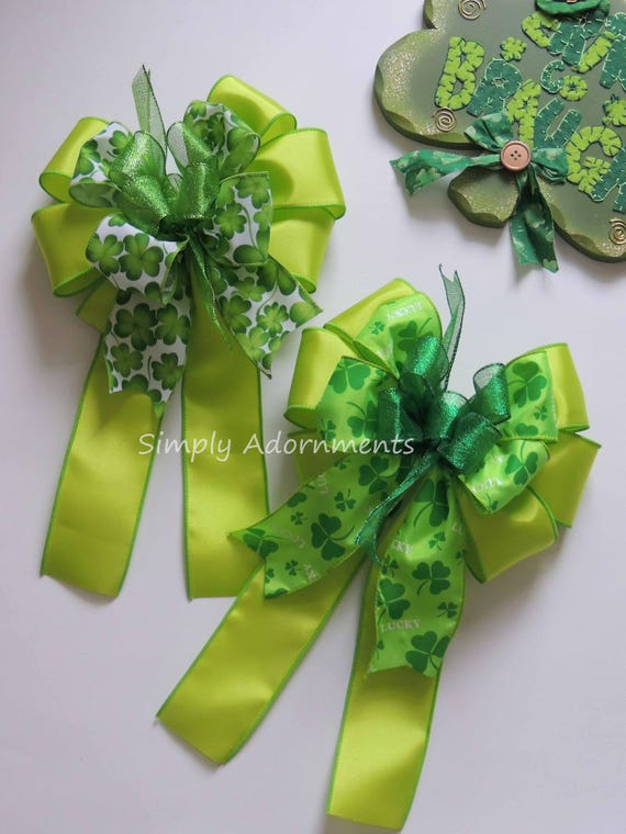 St. Patrick Wreath bow Kelly Green Shamrock Bow St Patrick Celebration Party Decoration Emerald Irish Shamrock Wedding Bow Shamrock gift Bow