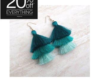 Teal Hues Silk Tassel Earrings Teal Aqua Ombre Combo Tassle Earrings,Teal Tassle Earings BOHO Earrings,Gift For Her, Earrings Handmade