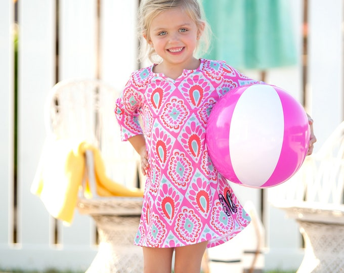 Girls Swimsuit Cover Up, Girls Tunic Cover Up,  Kids Monogram Tunic Dress, Mother Daughter, Monogrammed Beach Tunic, Group Discounts