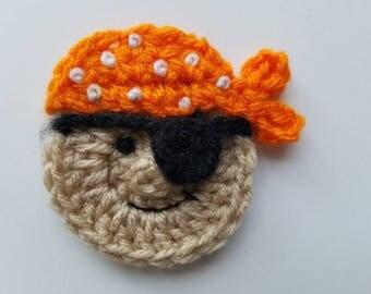 """NEW- 1pc 3"""" Crochet PIRATE Applique"""