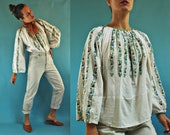 vintage Romanian Floral Stripe Embroidered Traditional Folk Blouse