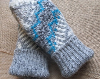 Felted Wool Sweater Mittens - Fleece-lined, Recycled, WARM Sweater Mittens, Medium Women's size - Gray and blue Mittens