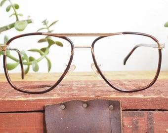 Vintage Eyeglass 1970's Men's Aviator/ Made In France By Rega Lunettes/ New Old Stock Frames/ Metal Plastic Wrapped Glasses/ Vintage Eyewear
