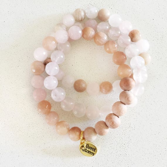 rose quartz peach pink natural stone stackable beaded stretchy agate blush tones diffuser aromatherapy doterra youngliving