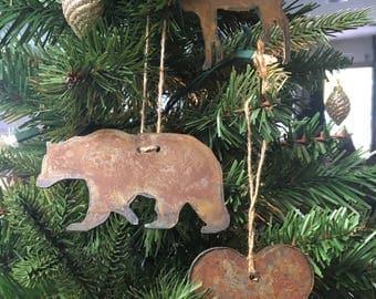 "Rusted Metal Woodland Ornament Gift Set - BEAR, HEART, MOOSE - 4"" tall"
