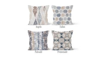 Beige Blue Pillow Cover, Decorative Throw Pillow Covers, Euro Pillow Sham 16 x 16, 18 x 18, 20 x 20, 22 x 22, 24 x 24, 26 x 26