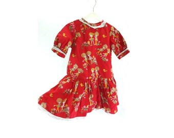 Vintage 1970s Handmade Red Retro Print Baby Dress with Broderie Trim - aged 4 years Kids  Toddler Clothes