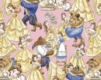 Beauty and the Beast Fabric, Walt Disney Fabrics, Packed Characters, Belle on Pink, Quilting Cotton, 100% Cotton, by the half yard
