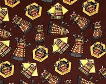 Dr. Who Fabric, Dalek Fabric, Doctor Who Exterminate Dalek, by the 1/2 Yard