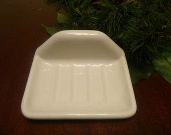 Vintage Heavy White Porcelain Wall Mount Soap Dish With Hardware