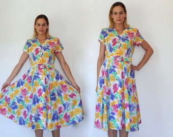 bright floral dress full skirt dress white floral dress vintage 80s does 50s circle skirt dress summer vacation dress hot pink classic