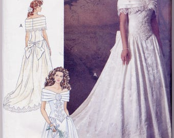 Vintage 1995 Bridal Gown Pattern Butterick 5898 Misses 12, 14, 16