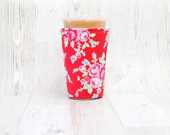 Vintage Floral Iced Coffee Cozy, Coffee Cuff, Coffee Cozy, Cup Sleeve, Red Cup Cozy