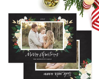 Christmas Photo Card, Christmas Card Template, Christmas Photography Template, Christmas Card Printable, Holiday Photo Cards HC316