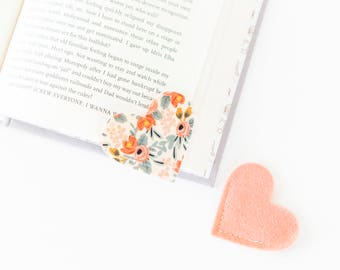 Patterned Felt Bookmark Heart Shaped Bookmark Rifle Paper Co. Galentine's Day Gift, Valentine's Day Gift, Book Lover, Gift for Teacher