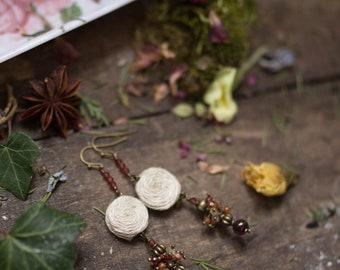 Hedgewitch - garnet carnelian citrine hemp Earrings