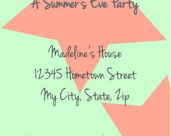 "Printable Summer Party Invitation - 4x6"" or 5x7"""