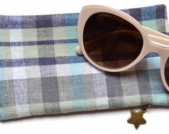 Sunglasses Case - Eyeglasses Case - Blue & Green - Checked Fabric and Felt - Handmade
