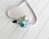 I'm Sittin' on the Dock of the Bay - darling floral crown tieback in dusty aqua, dusty lavender, lilac, grey, min, turquoise and sage (RTS)