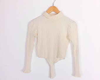 Cream Off White Ribbed Mock Neck Long Sleeve Thong Bodysuit One Piece // Women's size Small S